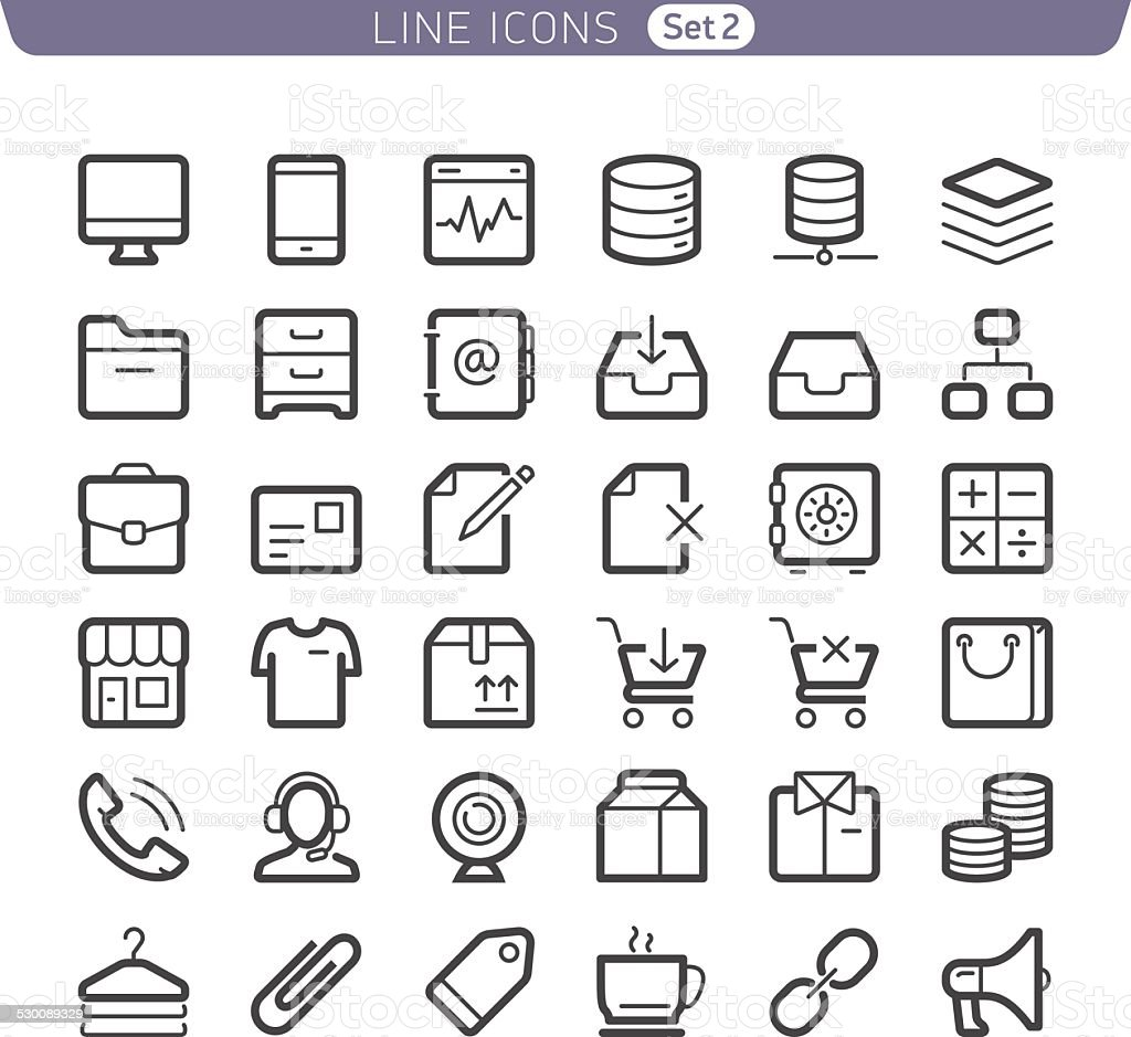 Line icons. Communication and Shopping. vector art illustration