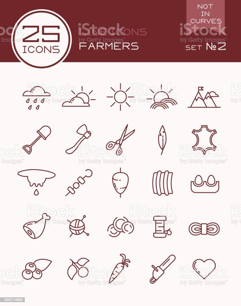 Line icons farmers set №2 vector art illustration