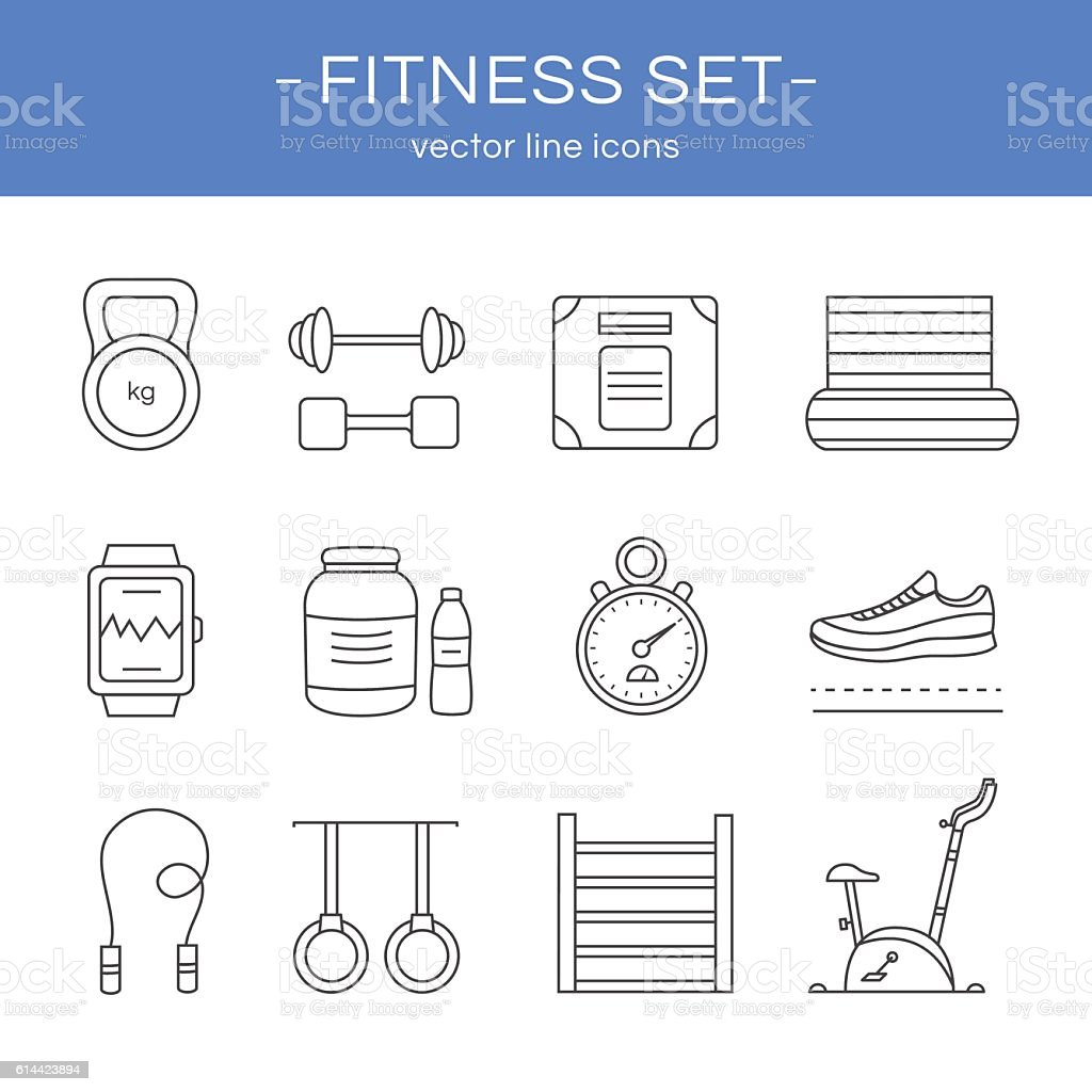 Line icons gym and fitness. vector art illustration