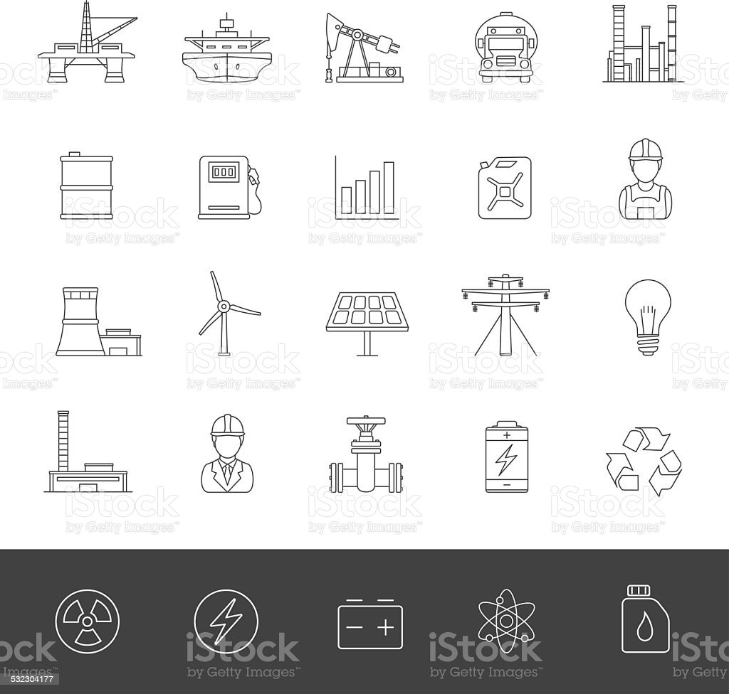 Line Icons - Industry And Energy vector art illustration