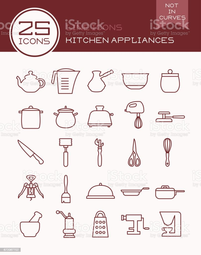 Kitchen Appliances On Credit Line Icons Kitchen Appliances Stock Vector Art 672067702 Istock