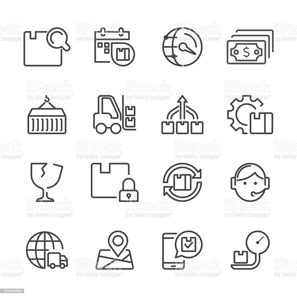 Line icons - Logistic Set vector art illustration