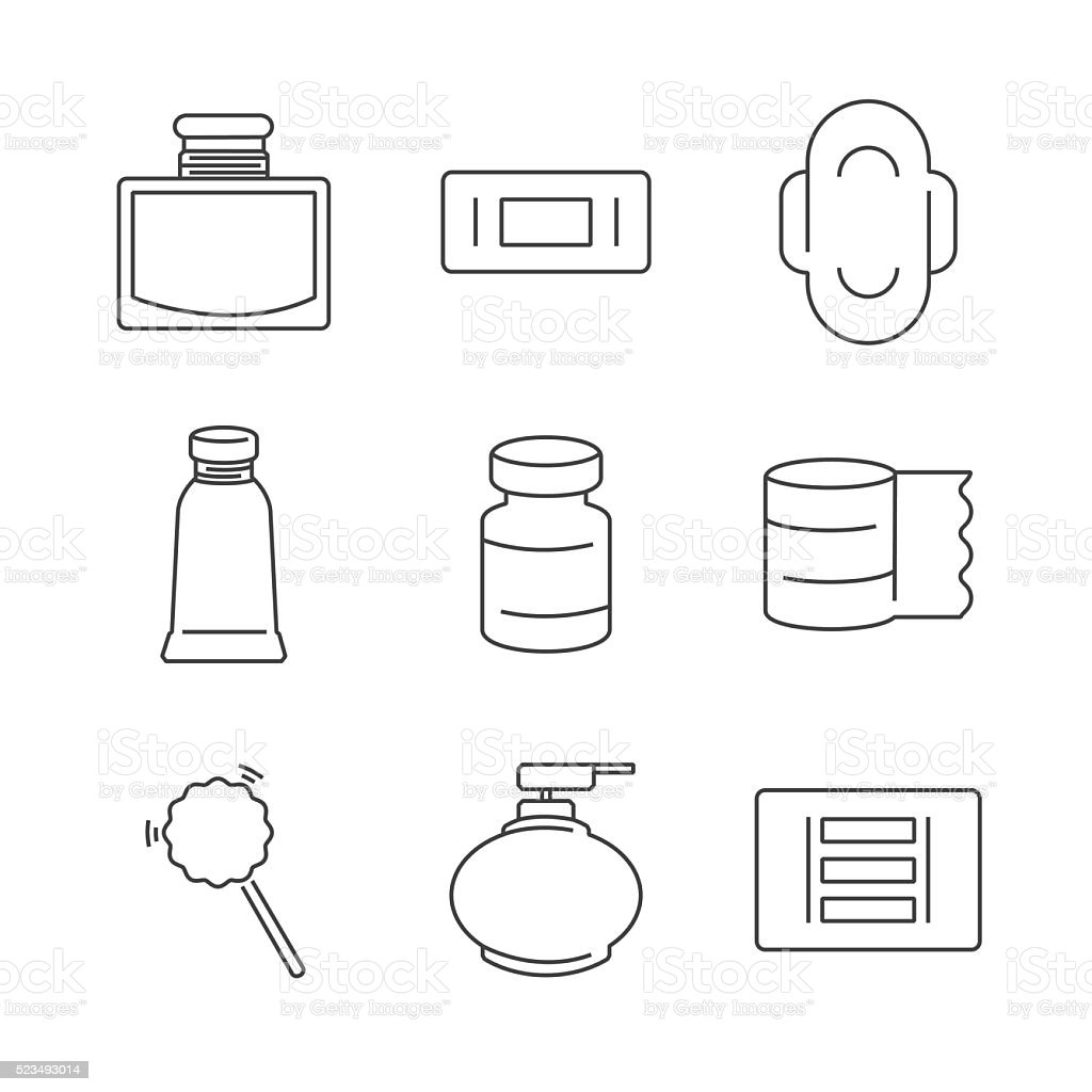 Line Icons Medical Pharmacist, Basic equipment  Icons vector art illustration