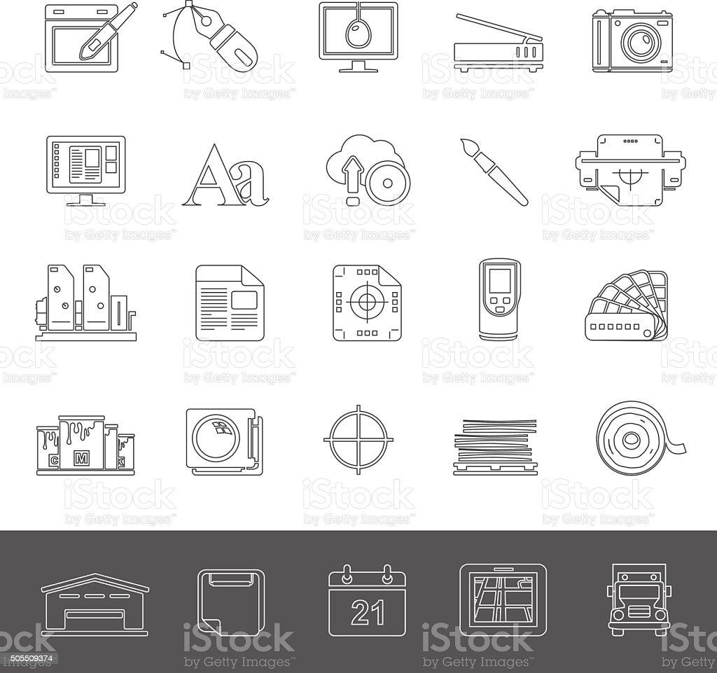 Line Icons - Offset Printing vector art illustration
