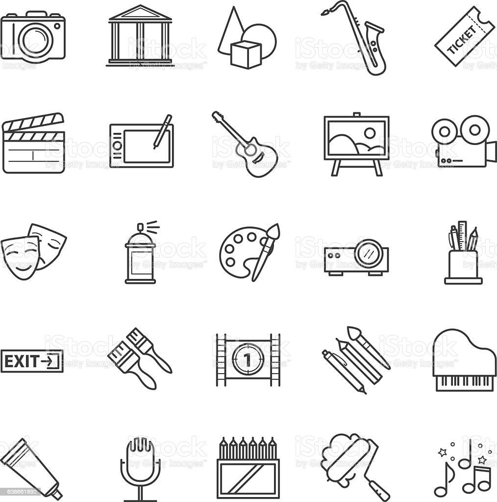 Line icons set - art, entertament, drawning tools vector art illustration