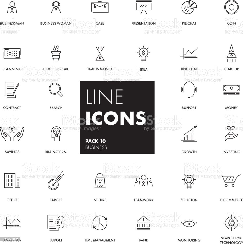 Line icons set. Business vector art illustration