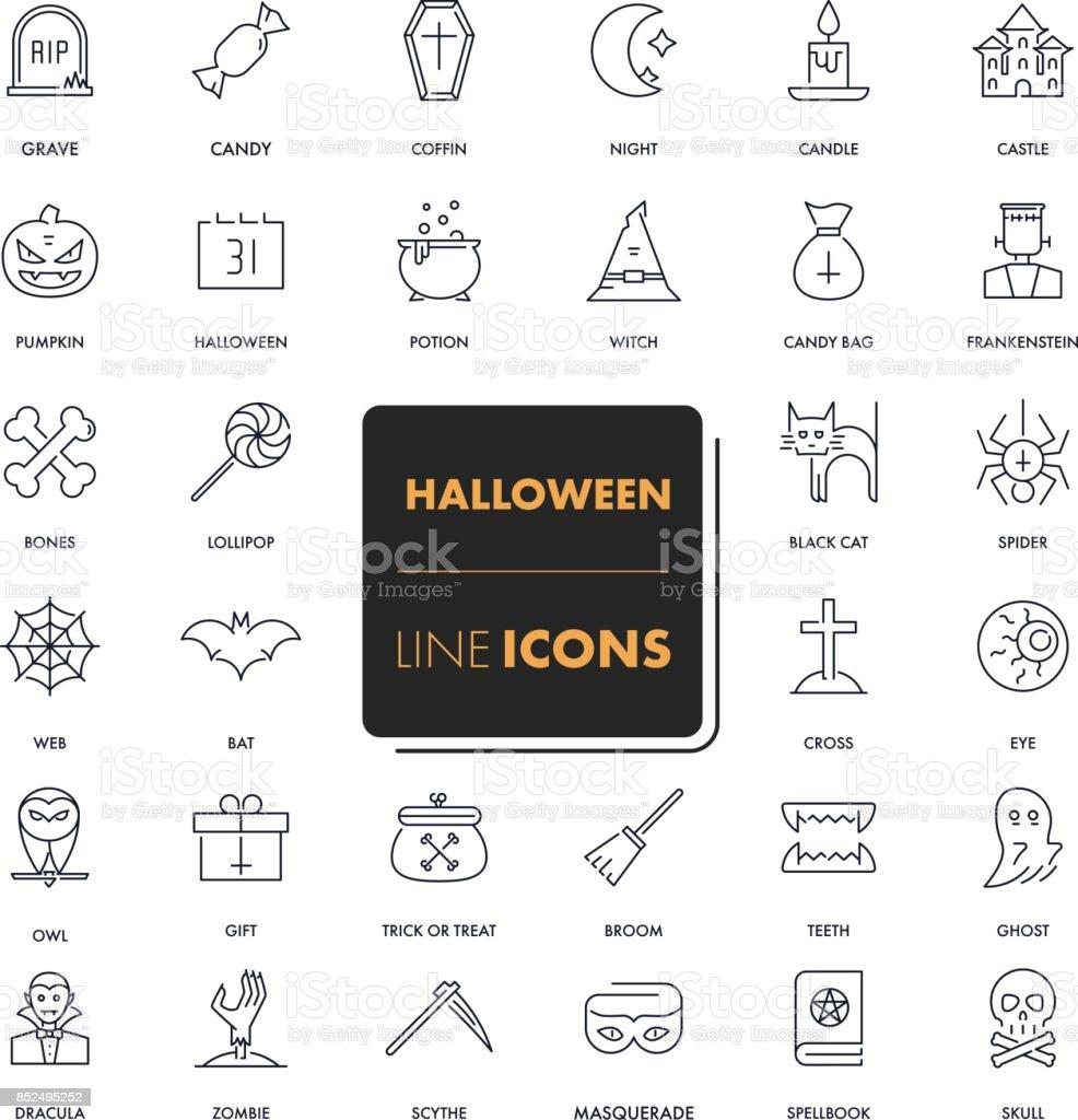 Line icons set. Halloween vector art illustration
