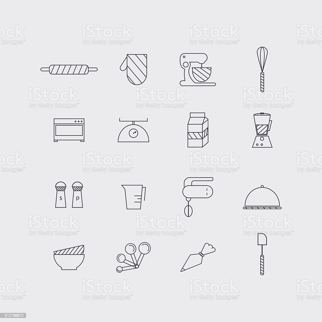 Line icons set in flat design. Elements of Cooking Foods vector art illustration