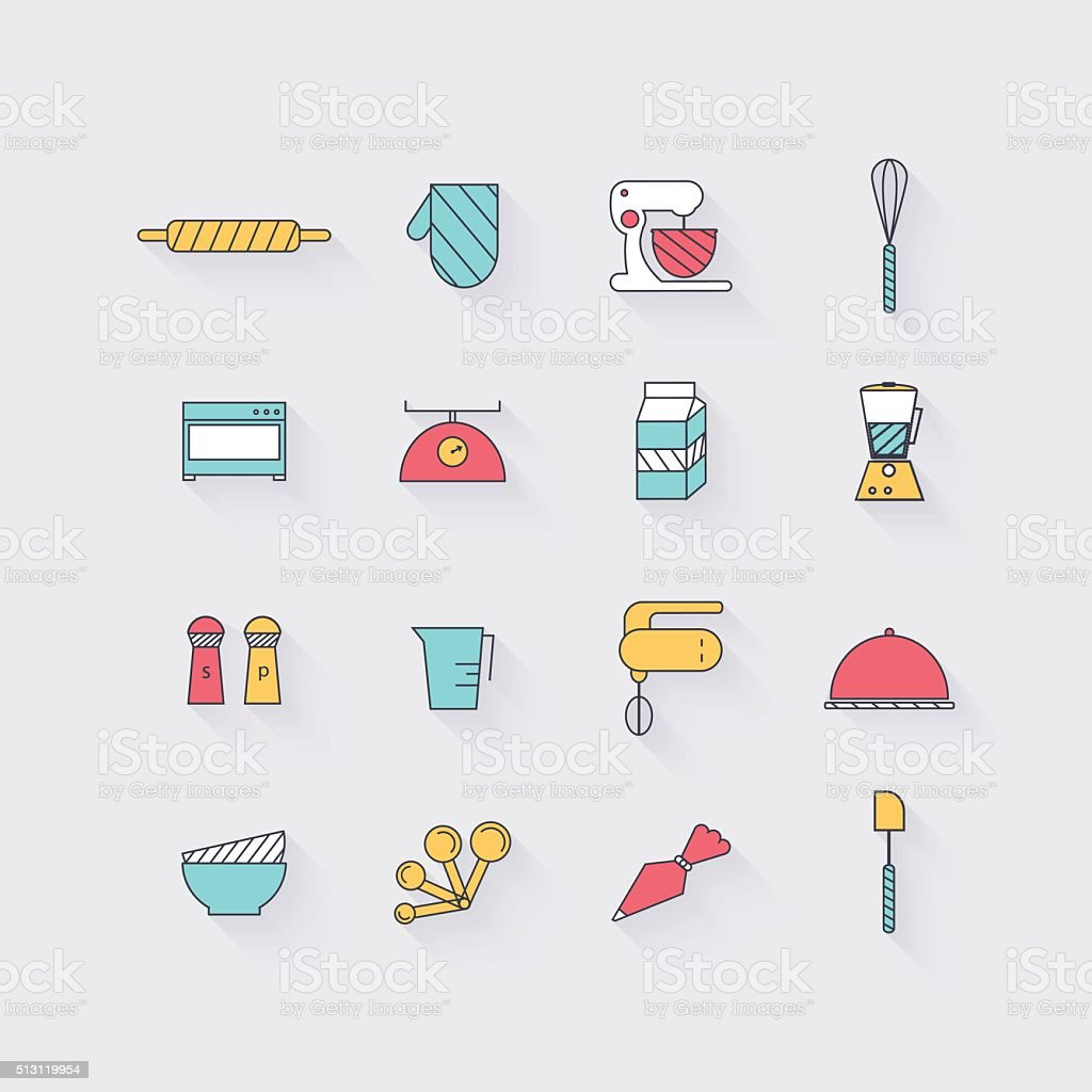 Line icons set in flat design. Elements of Cooking Foods vector art illustration