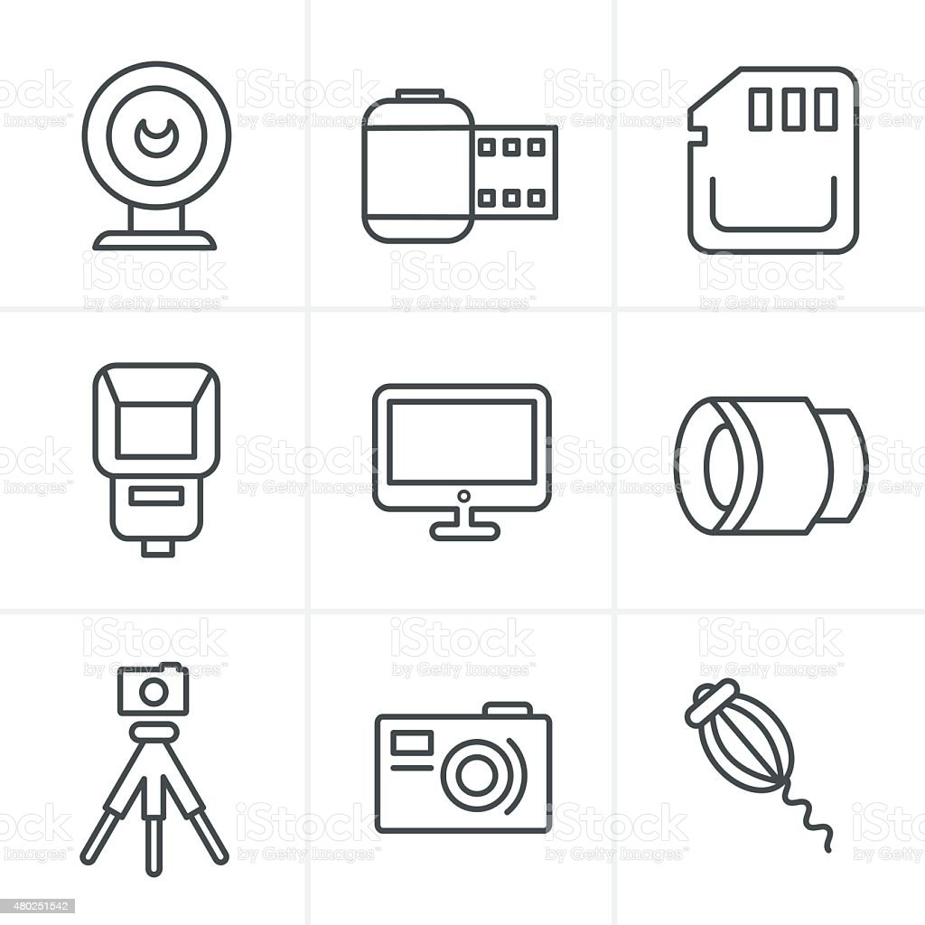 Line Icons Style  Photography Icons Set, Vector Design vector art illustration