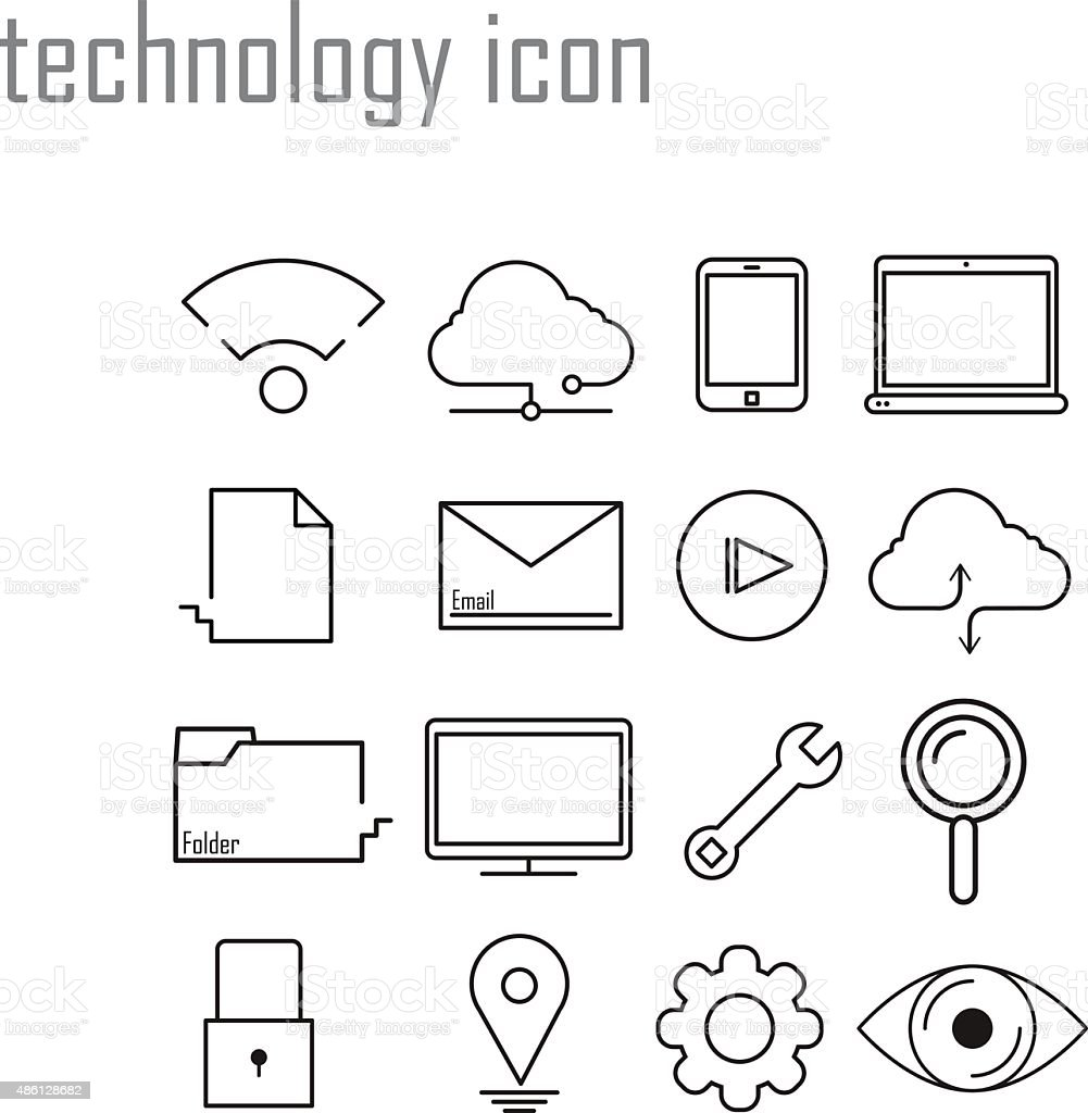 Line icons, technology, internet icons,Modern infographic vector vector art illustration