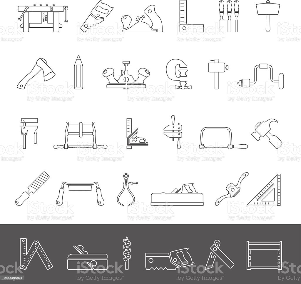 Line Icons - Traditional Woodworking vector art illustration
