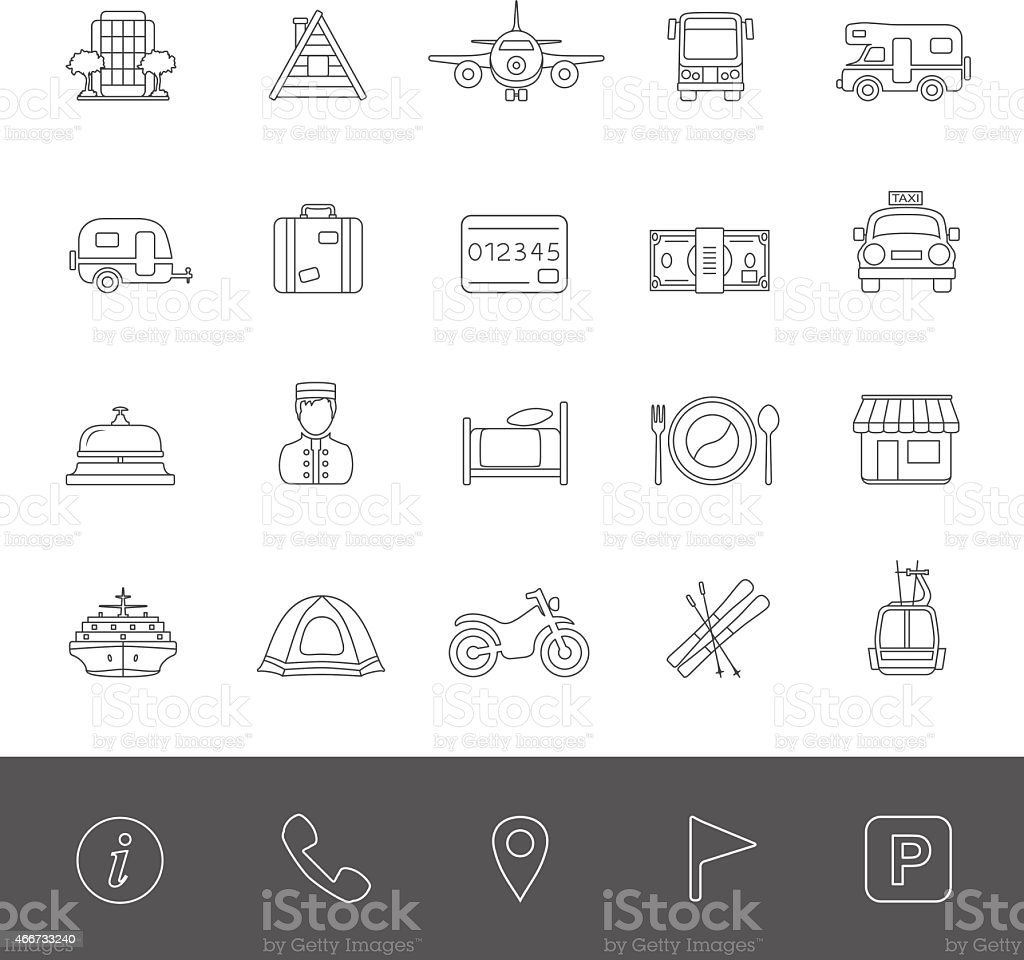 Line Icons - Vacation vector art illustration