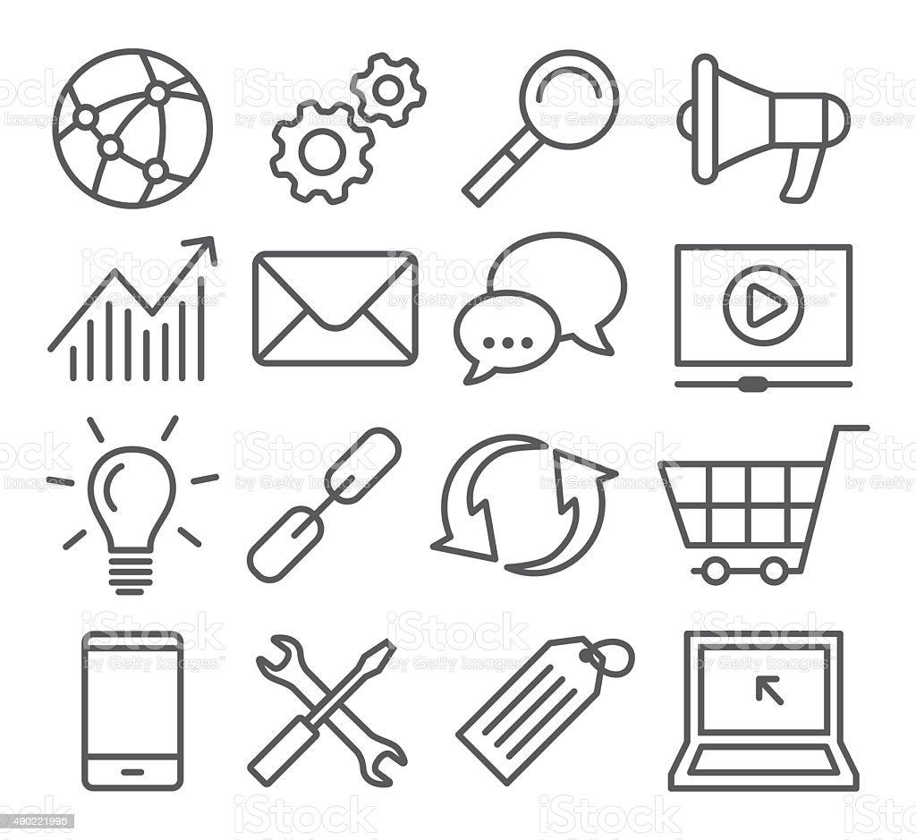 SEO Line Icons vector art illustration