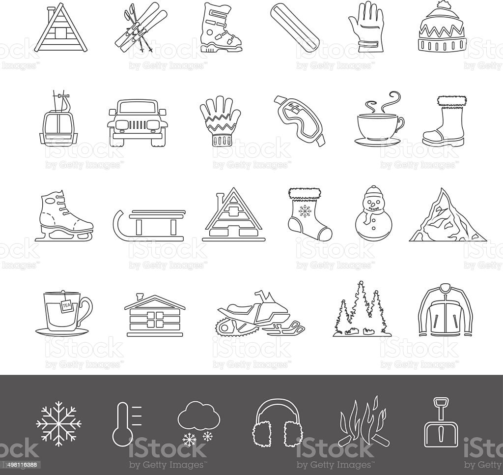 Line Icons - Winter vector art illustration