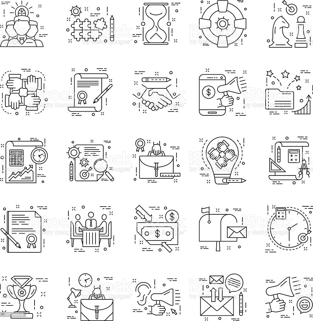 Line Icons With Detail 6 vector art illustration