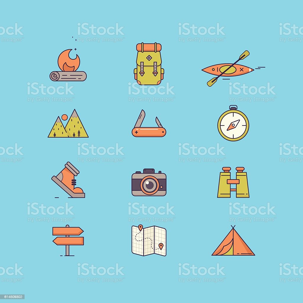 Line icons with flat design elements of survival tourism recreation. vector art illustration