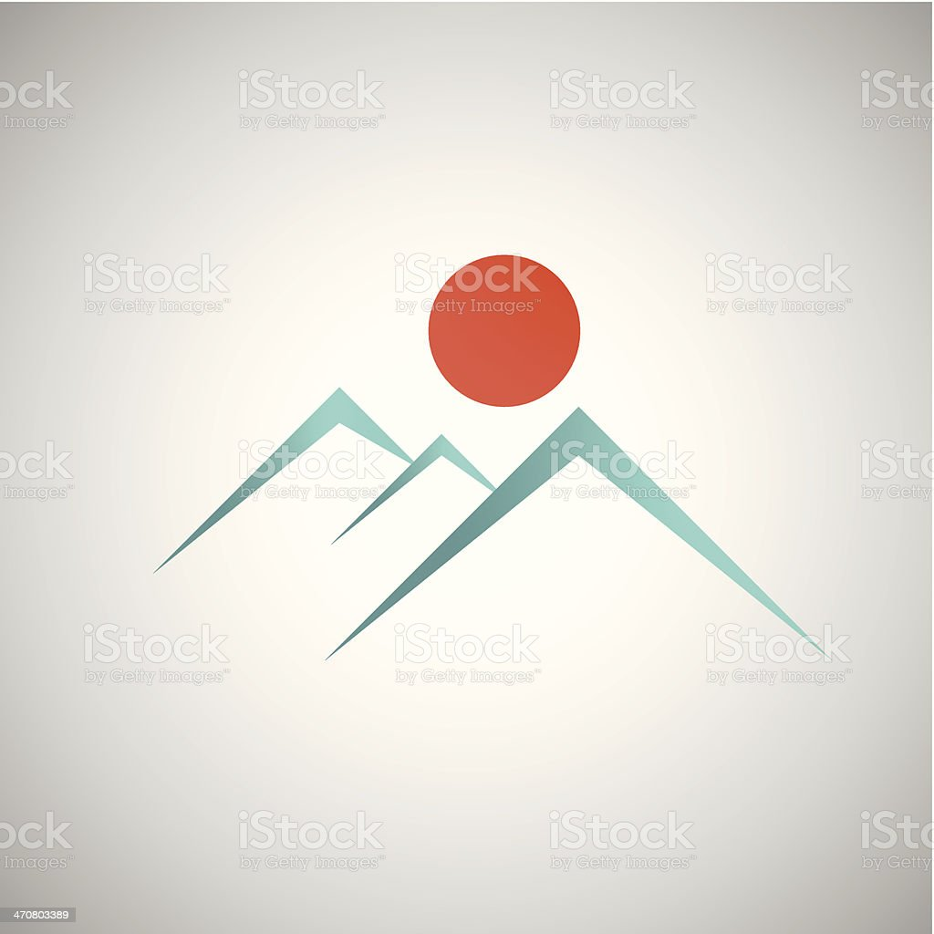 Line illustration of blue mountains and red sun royalty-free stock vector art