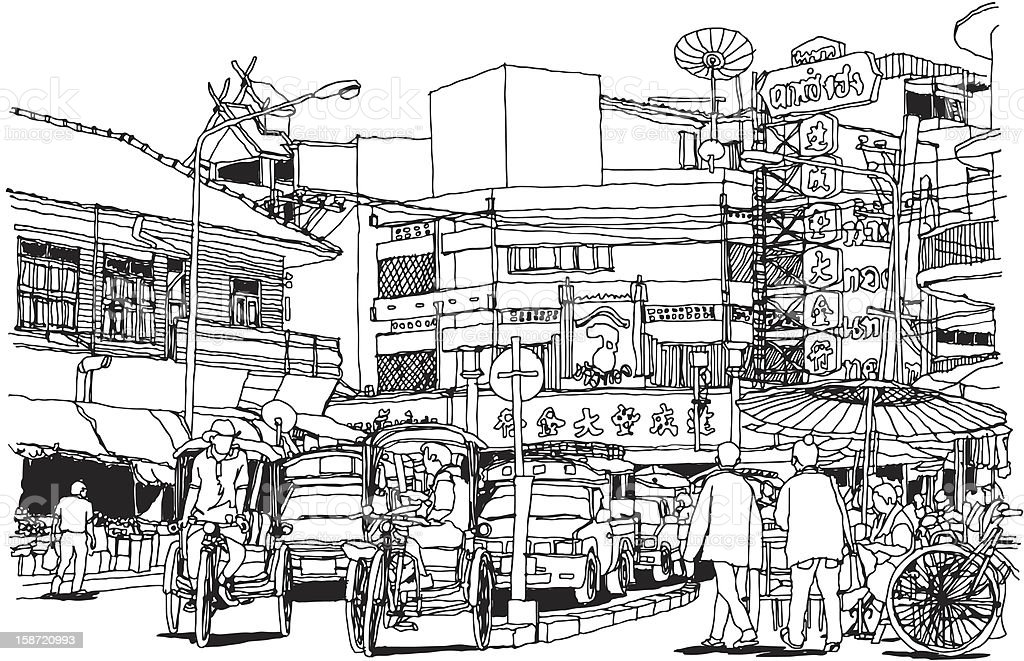 Line illustration of Chiang Mai, Thailand on white vector art illustration