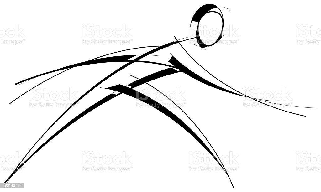 Line illustration of running man royalty-free stock vector art