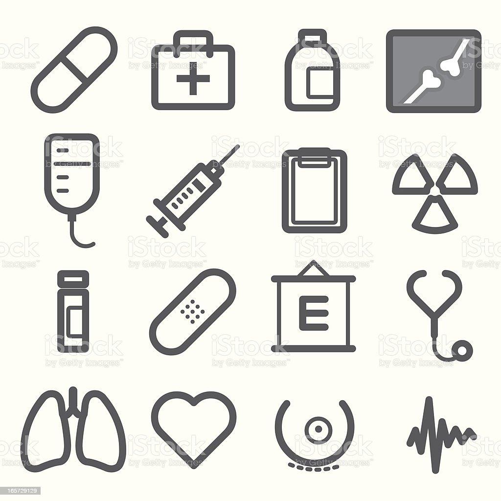 Line illustrations of medical symbols on a white background vector art illustration