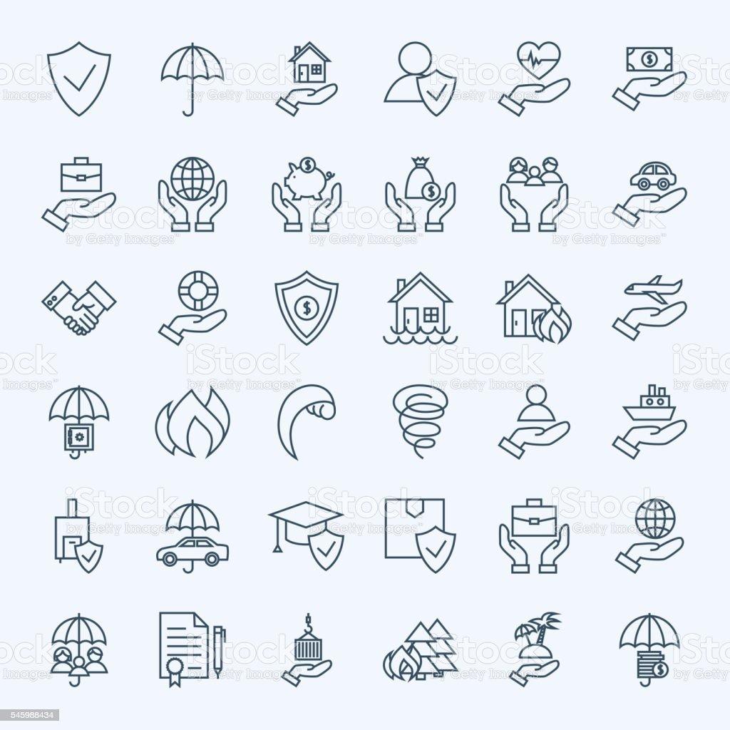 Line Insurance Service Icons Set vector art illustration