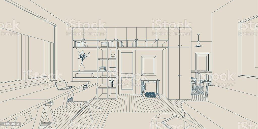 Line interior drawing vector art illustration
