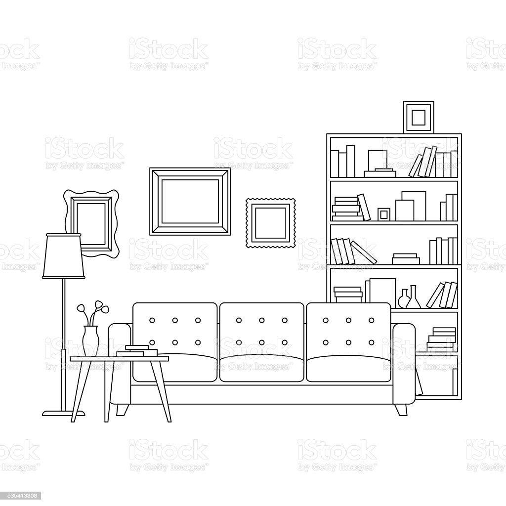 Line Interior Of Living Room Royalty Free Stock Vector Art