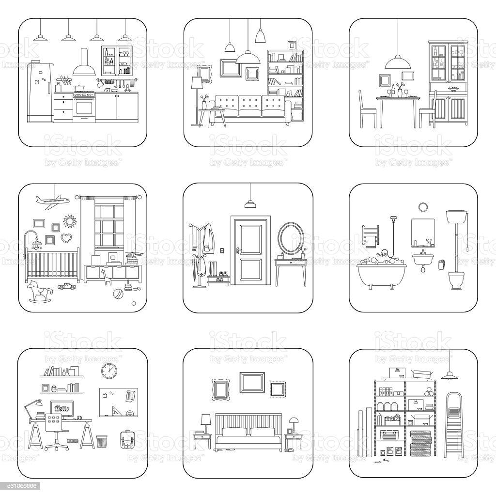 Line interior rooms vector art illustration