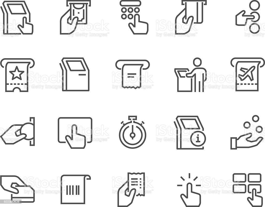 Line Kiosk Terminal Icons vector art illustration