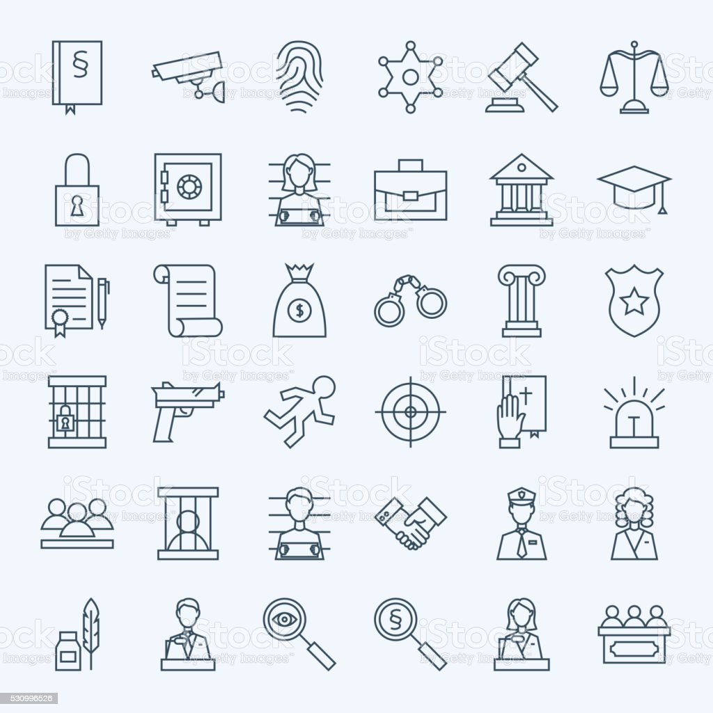 Line Lawyer Attorney and Crime Icons Set vector art illustration