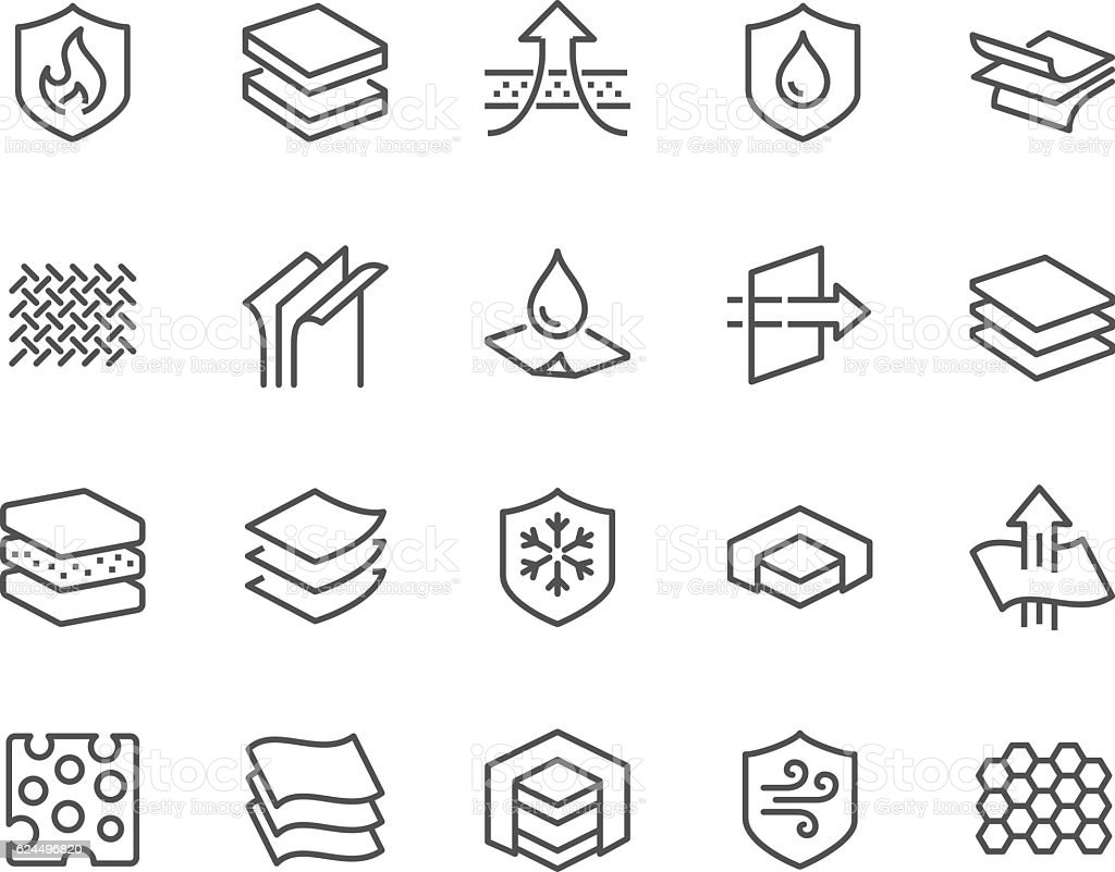 Line Layered Material Icons vector art illustration