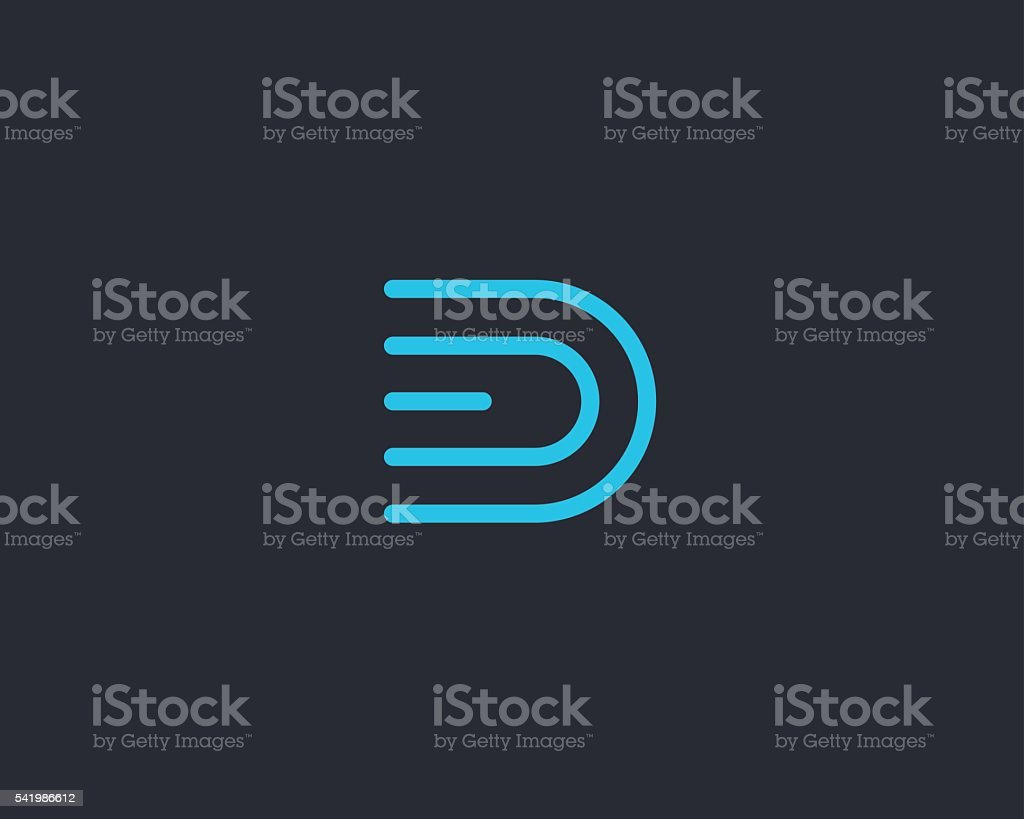 Line letter D logotype. Abstract moving airy logo icon design vector art illustration