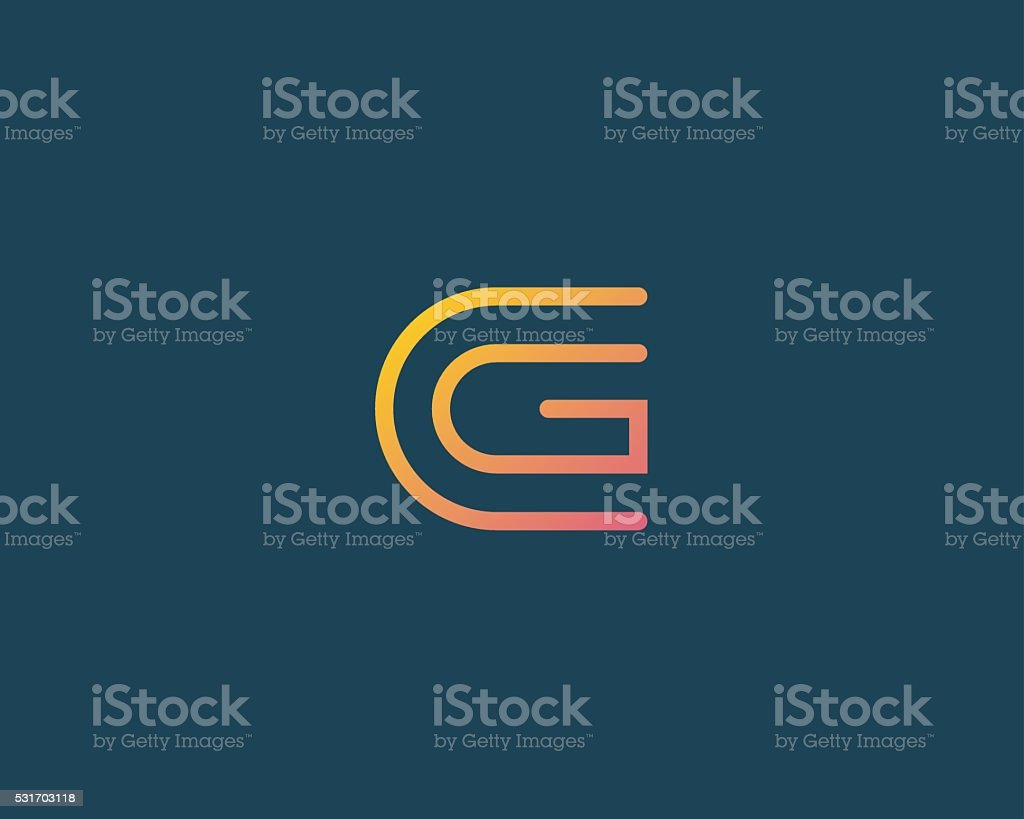 Line letter G logotype. Abstract moving airy logo icon design vector art illustration