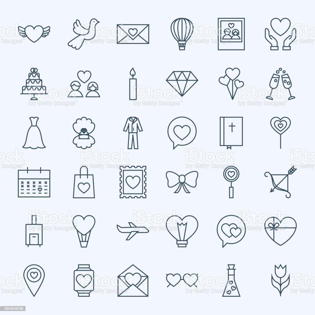 Line Love Icons vector art illustration