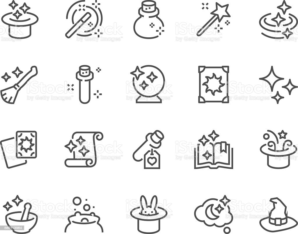 Line Magic Icons vector art illustration