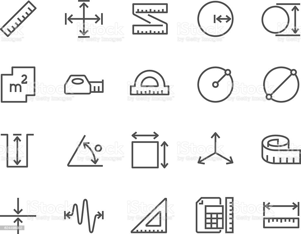 Line Measure Icons vector art illustration