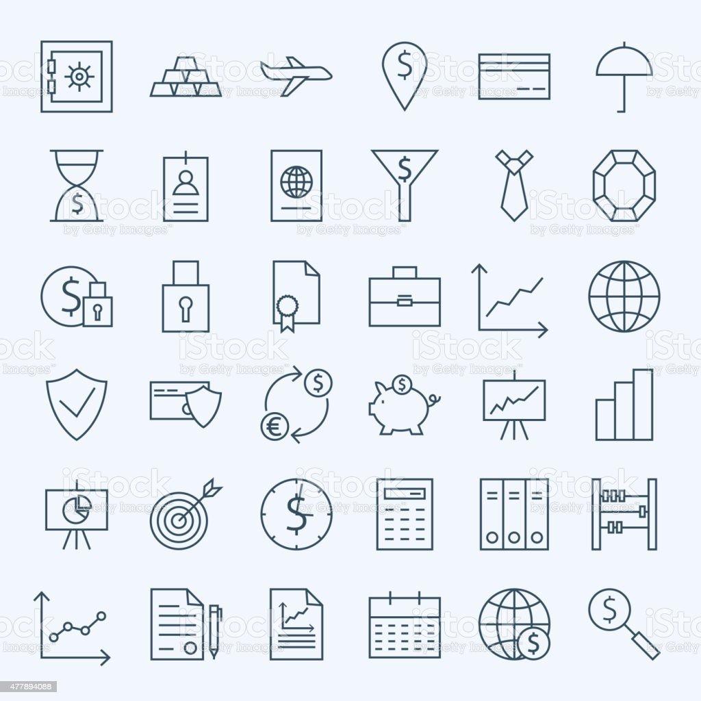 Line Money Finance and Banking Icons Set vector art illustration