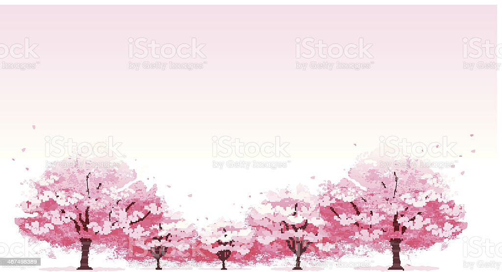 Line of cherry blossom tree background vector art illustration