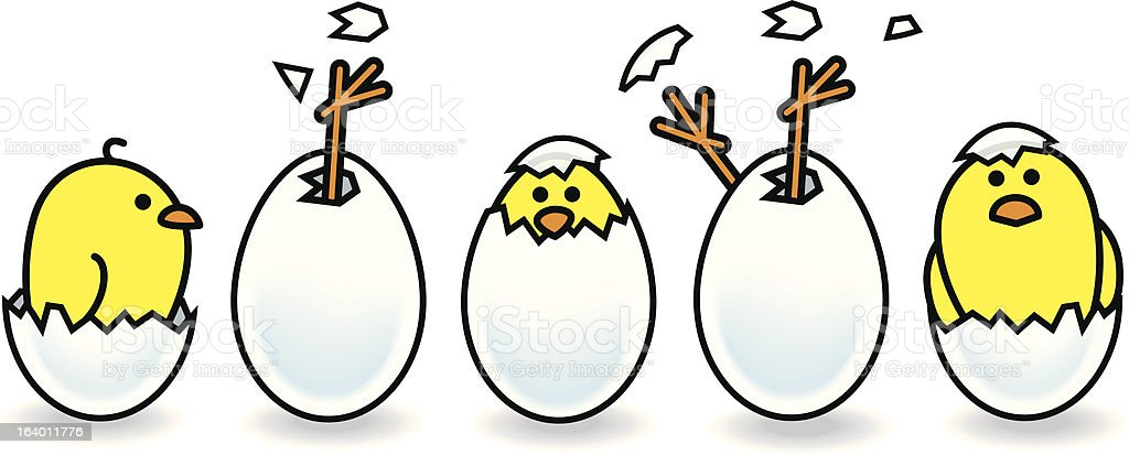 Line of Five Easter Chicks Hatching from Eggs vector art illustration