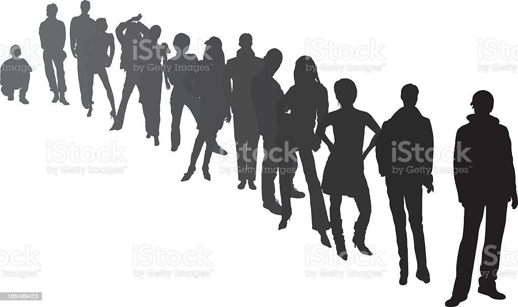 Line of People vector art illustration