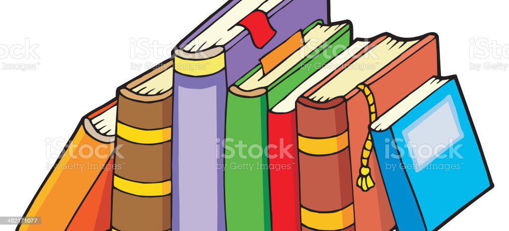 Line of various books royalty-free stock vector art