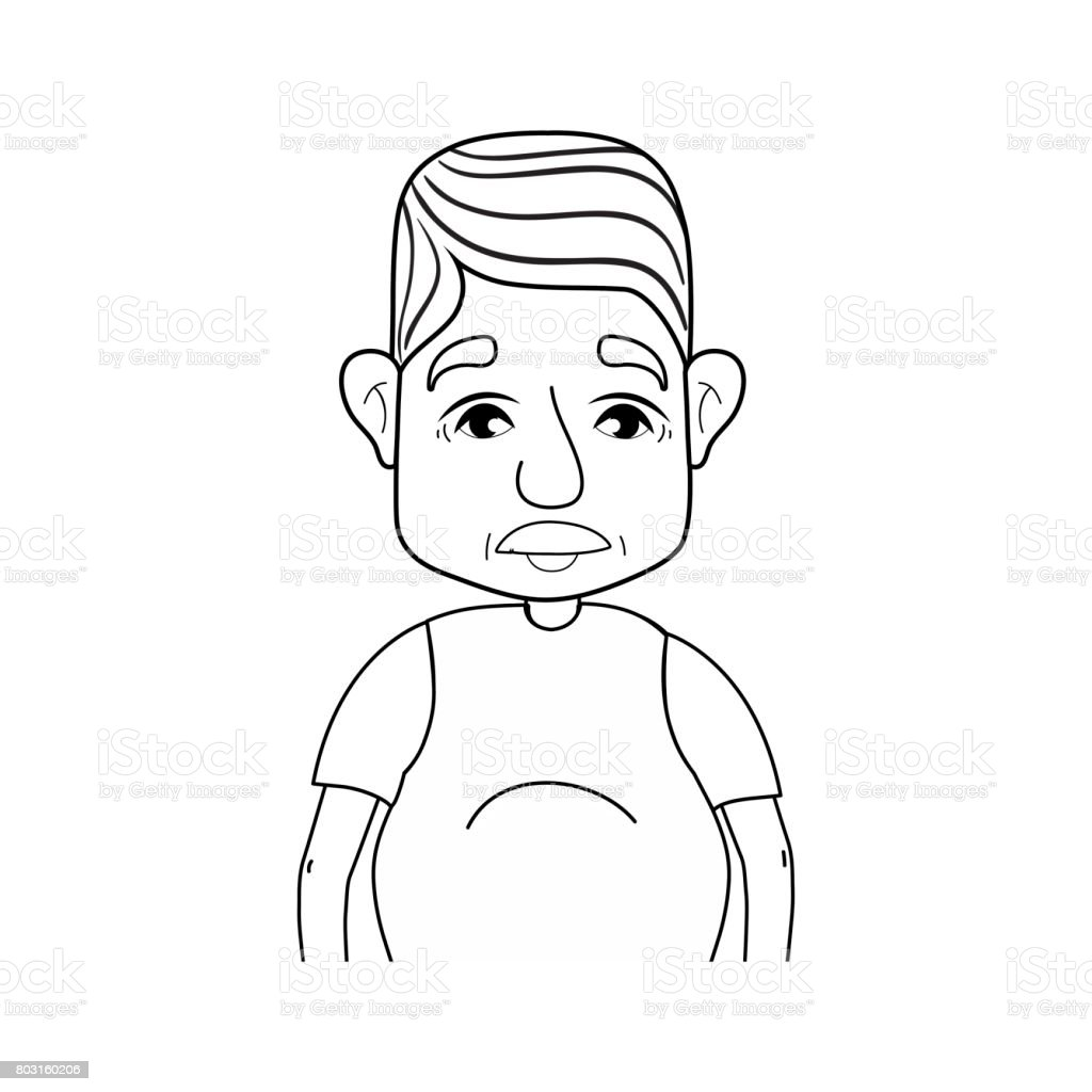line old man with hairstyle and casual clothes vector art illustration