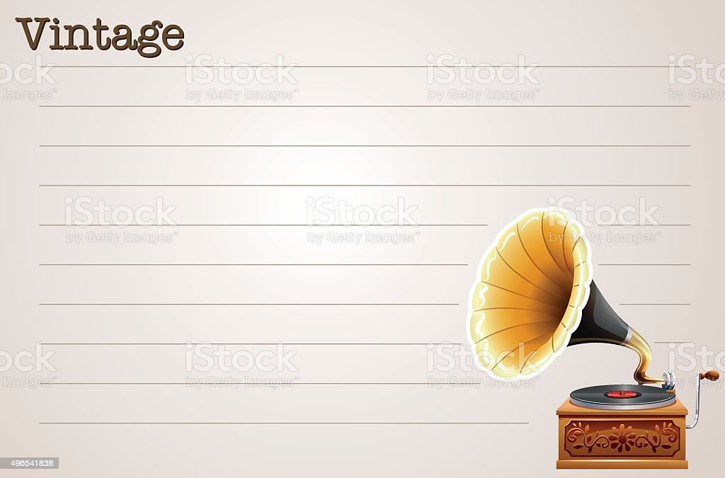 Line paper design with gramophone vector art illustration