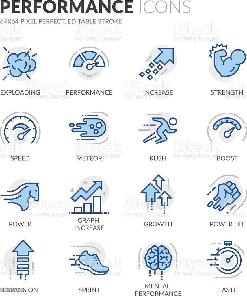 Line Performance Icons vector art illustration