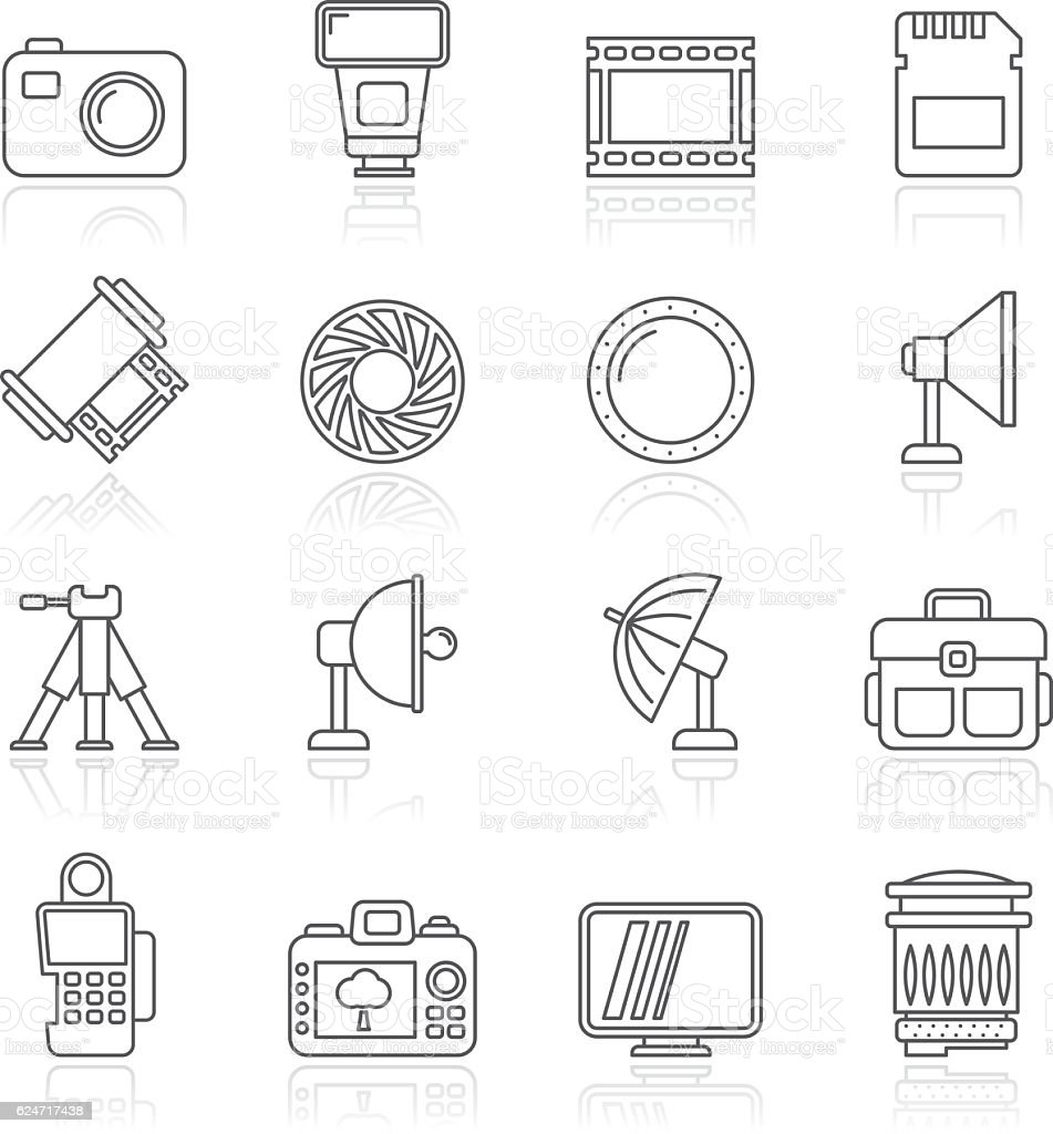 Line photography equipment icons vector art illustration