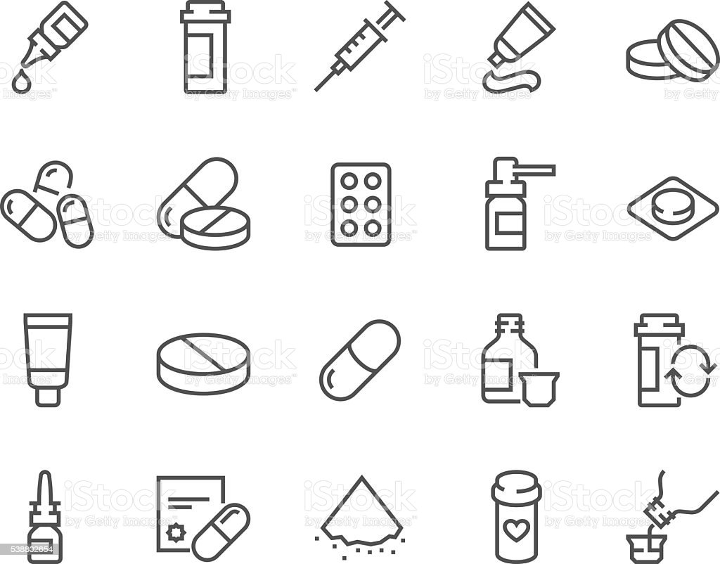 Line Pills Icons vector art illustration