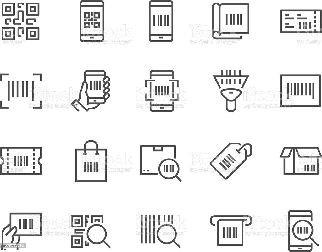 Line QR Code Icons vector art illustration