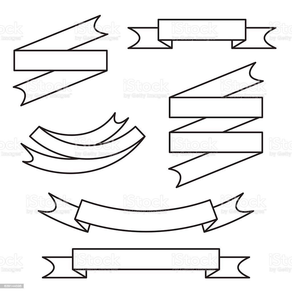 Line Art Ribbon : Line ribbon vector set stock art istock