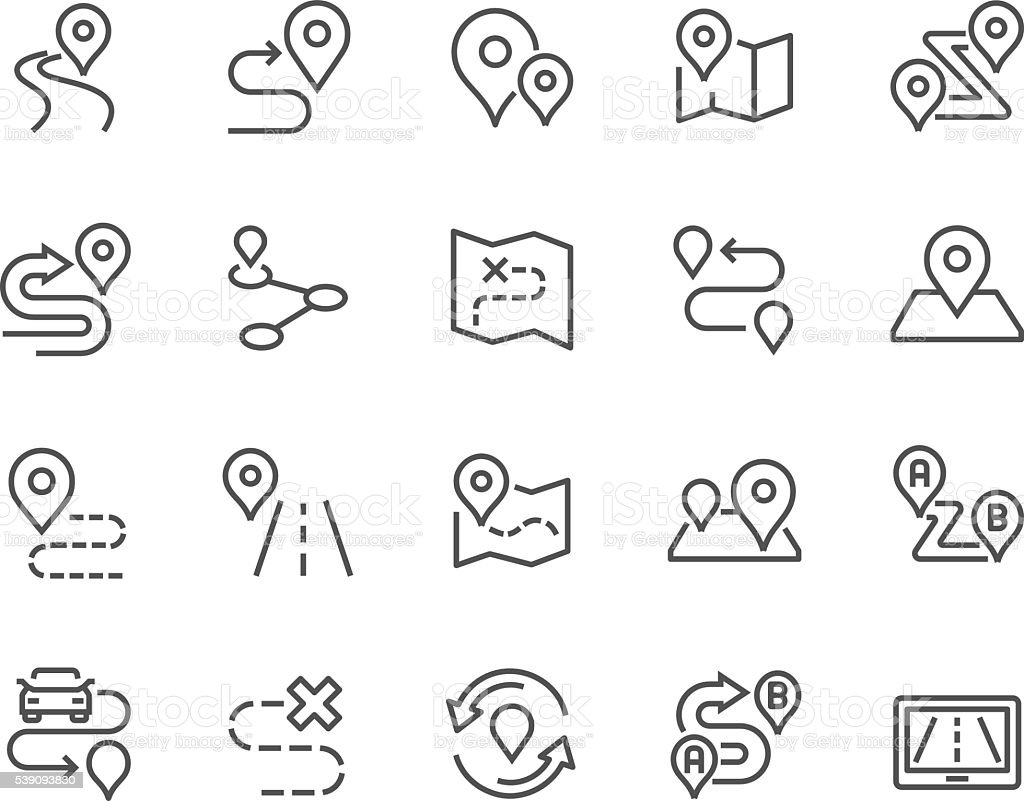 Line Route Icons vector art illustration